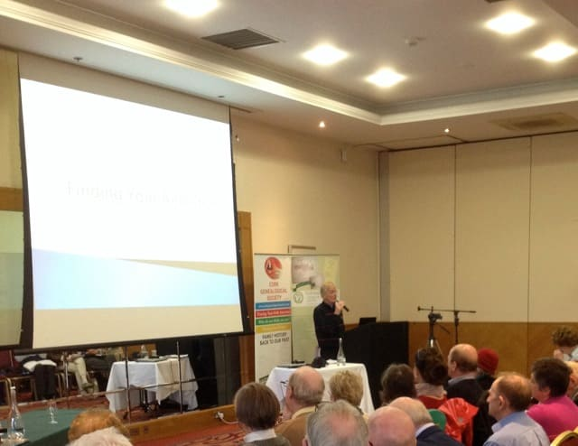 Tony McCarthy author of 'Tracing your Cork Ancestors' 19 March 2016 speaking to the Cork Genealogy Conference