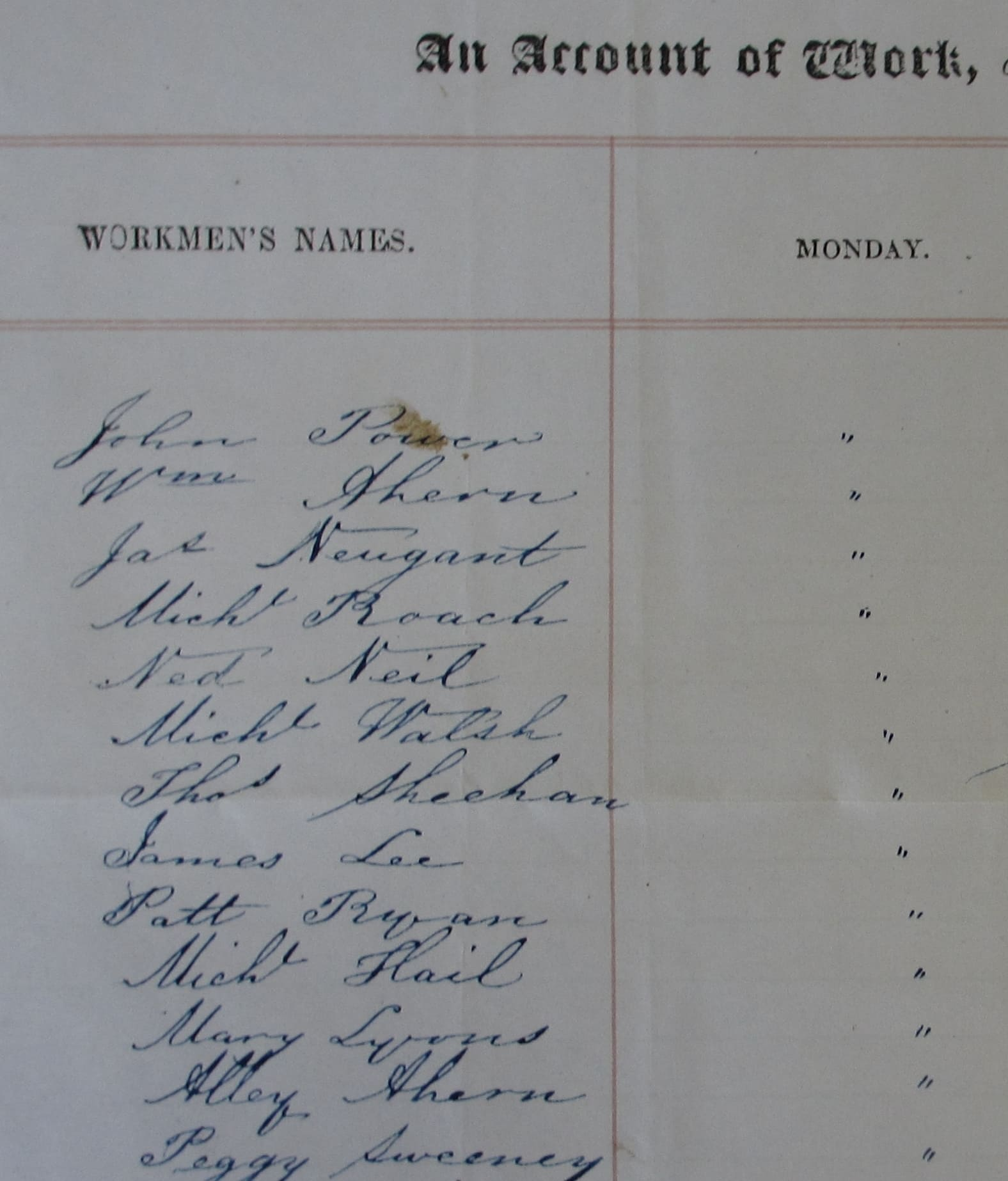 MS 43,760/ 31 List of labourers  (July 1850)  in accounts of Francis E. Curry for expenditure on the Duke of Devonshire's Irish estates