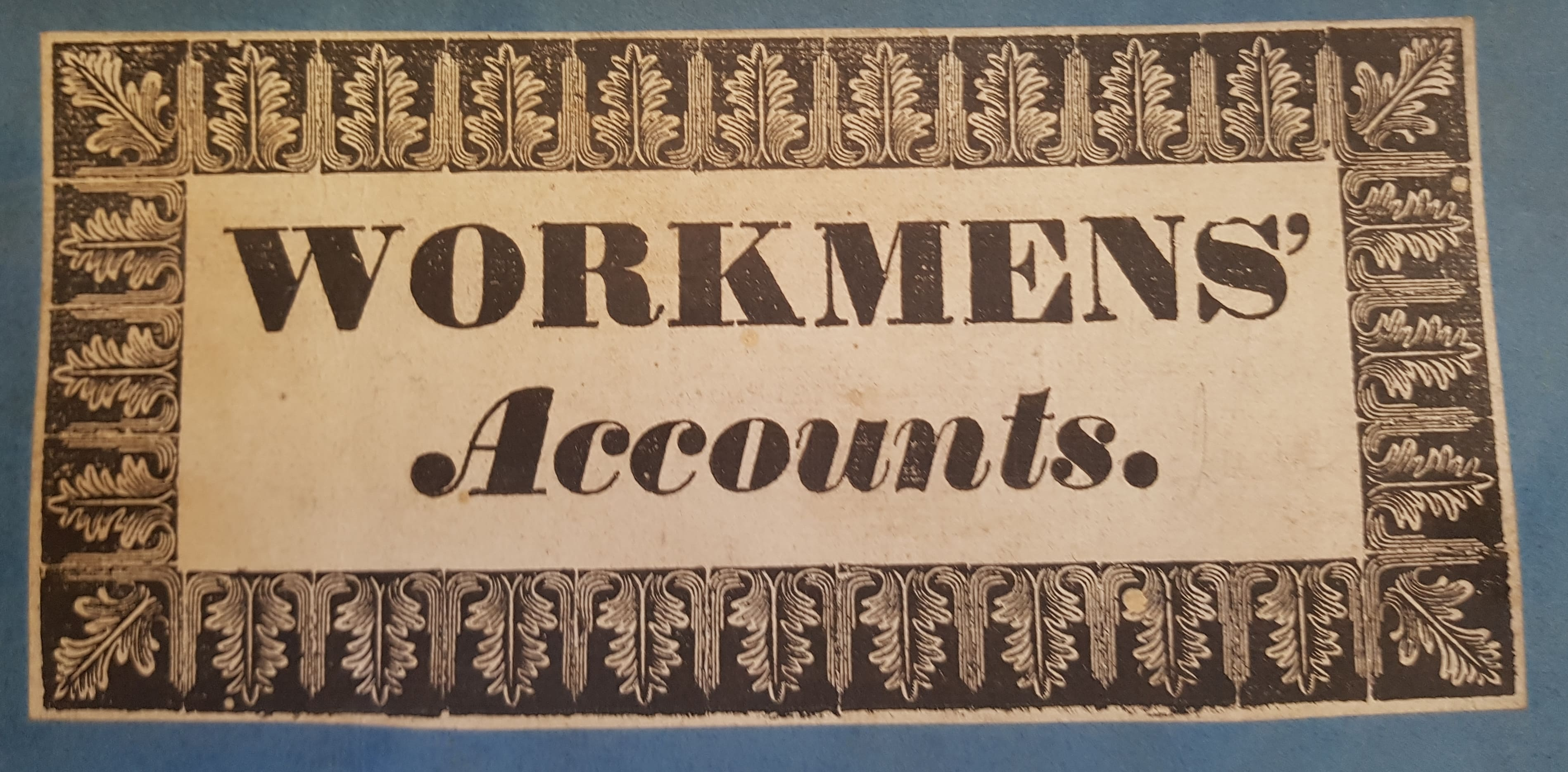 Workmens'  accounts book from Doneraile Papers:  1839 -  1840.  NLI Ms. 19, 726