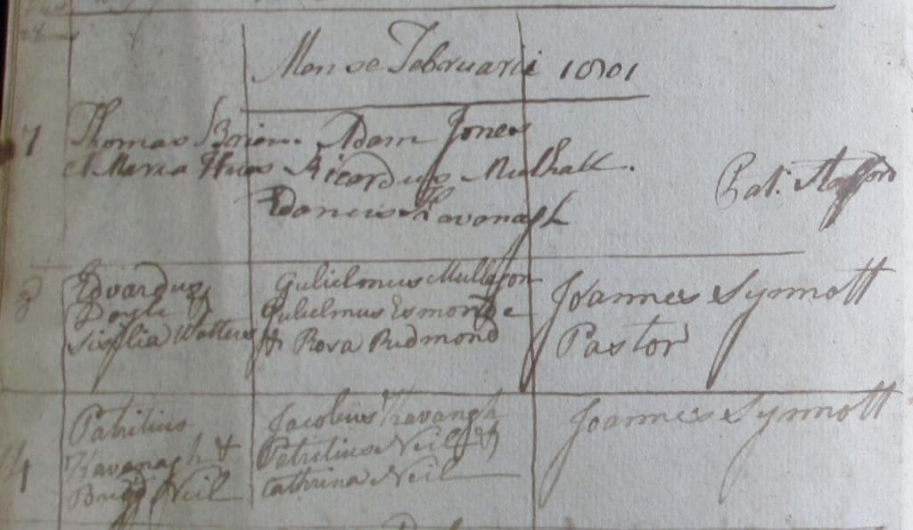 Extract from Wexford Marriages book 1801. Franciscan Library.