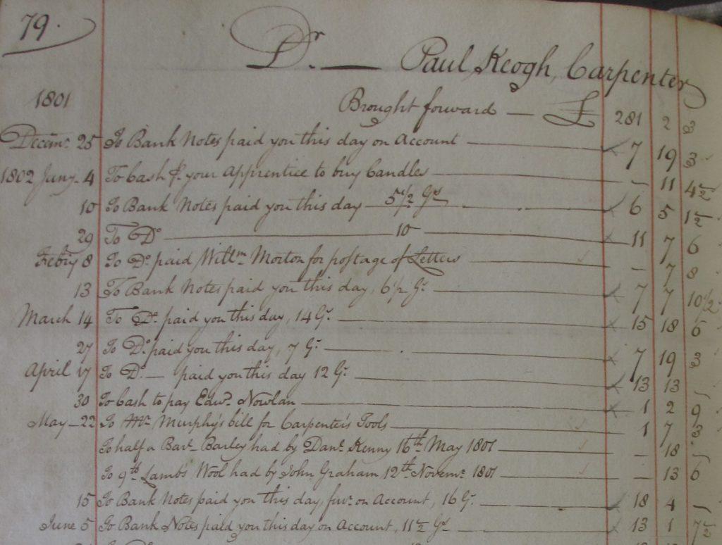 Workmen's cash book from Fitzwilliam estate, Co. Wicklow, 1796 - 1805. NLI  Ms. 4949