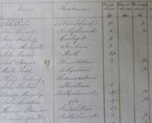 Tenants of H. K. Grogan Morgan, who were supplied with turnip seed, and the quantity given to each, Wexford, 1847. Grogan Papers. NLI Ms. 11,108